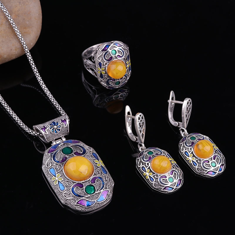 Sellsets Turkish-Jewelry-Set Enamel Ethnic Party-Gift Silver-Color Fashion And Resin