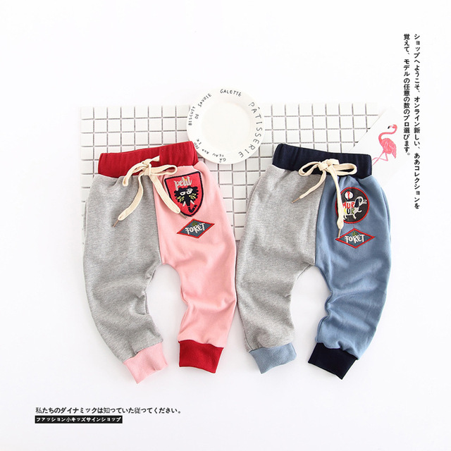 Ins hot-venda roupa nova chegada das crianças 2017 masculino bebê criança do sexo feminino bordado calças laçadas calça casual