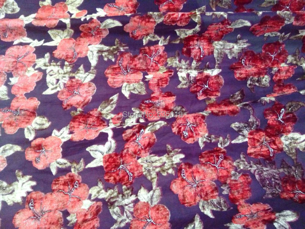 Crazy Discount High Grade Luxury Red/Violet Flowers Flocking Fabric Silk Velvet Cotton Fabric For Dress/suit Tissus With Stone
