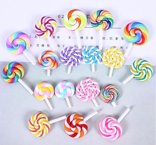 490pcs Spiral Rainbow Polymer Clay Cabochons Beauty Kawaii lollipop Candy Flatback For DIY Phone Decoration Center