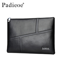 Padieoe Genuine Leather Men Bag Clutches Wallet Business Men Phone Envelope Bag Famous Brand Hand Bag Male Luxury Long Purse