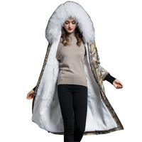 Real Fur Coat Rex Rabbit Fur Liner Coats Raccoon Fur Collar Hooded Jacket Winter Long Jackets Women Parka Abrigo Mujer ZL732