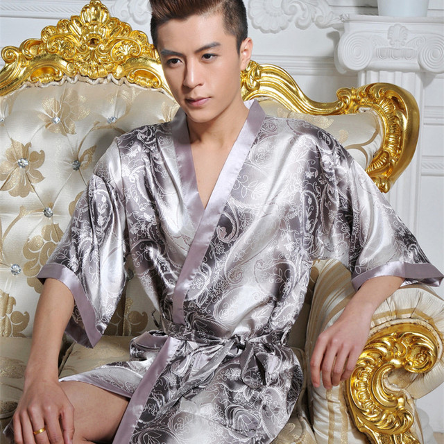 2016 winter man bathrobe gown kimono hotel bathrobe sleepwear embroidery with dragon