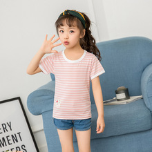 YHCQ Summer T Shirt For Girls Boys Cotton Short Cute Stripe Sleeve Kids Childrens Tshirt Toddlers Clothes Tops Tees
