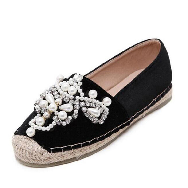 16be99bc6ae Aneikeh 2018 Spring Autumn Women Loafer Round Toe Espadrilles Pearl  Comfortable Hemp Bottom Women Shoes Slip On Zapato Mujer
