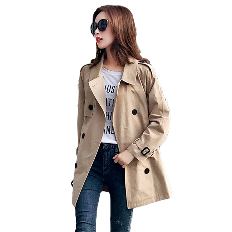 Autumn New Windbreaker Coat Women Fashion Elegant Plus size Slim   Trench   Coats Korean Women's Casual Long-sleeved Overcoat a306