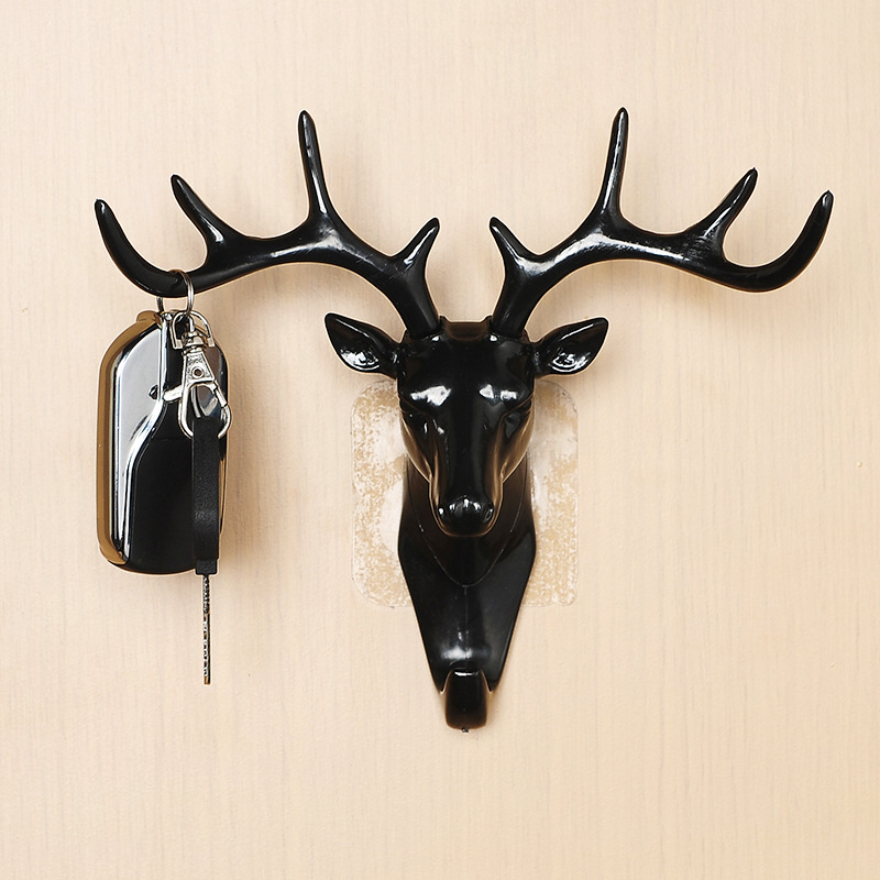 Deer Head Wall Hook Animal Self Adhesive Clothing Display Racks Hook Coat Hanger Cap Room Decor Show Wall Bag Keys Sticky Holder
