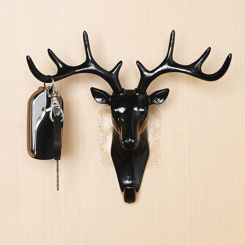 Deer Head Wall Hook Animal Self Adhesive Clothing Display Racks Hook Coat Hanger Cap Room Decor Show Wall Bag Keys Sticky Holder