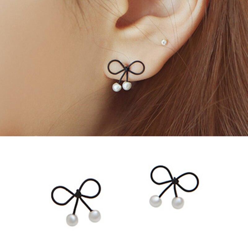 2019 New Fashion Bowknot Pearl Stud Earrings For Women Korean Style Pearl Jewelry Earing