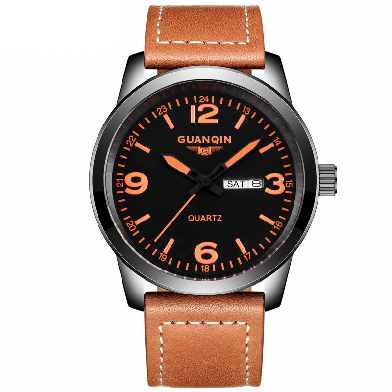 GUANQIN GS19036 New Arrival Male Watches Luxury Top Brand Men's Army Military Watch Luminous Leather Sport Quartz Wrist Watches 2017 new arrival hot mens military quartz army watch black date luxury sport luminous wrist watch 5 2