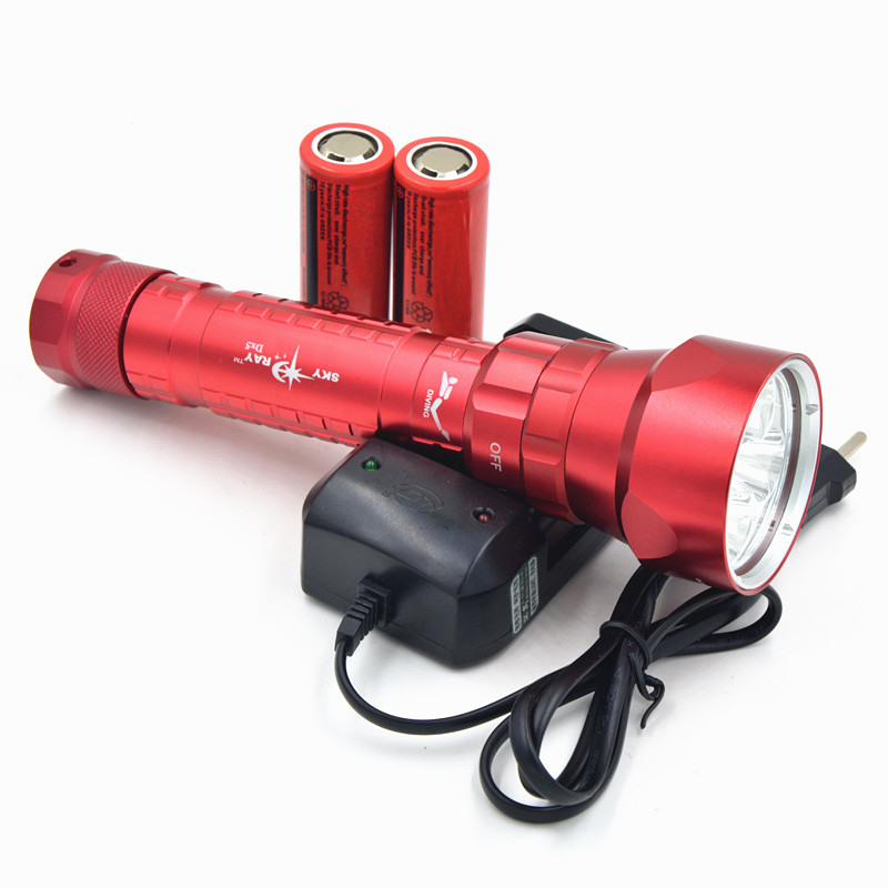 10Sets/lot 8000 Lumen 5X CREE XM-L2 LED Diving Flashlight Torch 100m Underwater Diver LED Flash Light With Battery & Charger led diving flashlight torch 100m underwater light diver light 5 x cree xml l2 8000 lumens scuba lanterna with 18650 battery