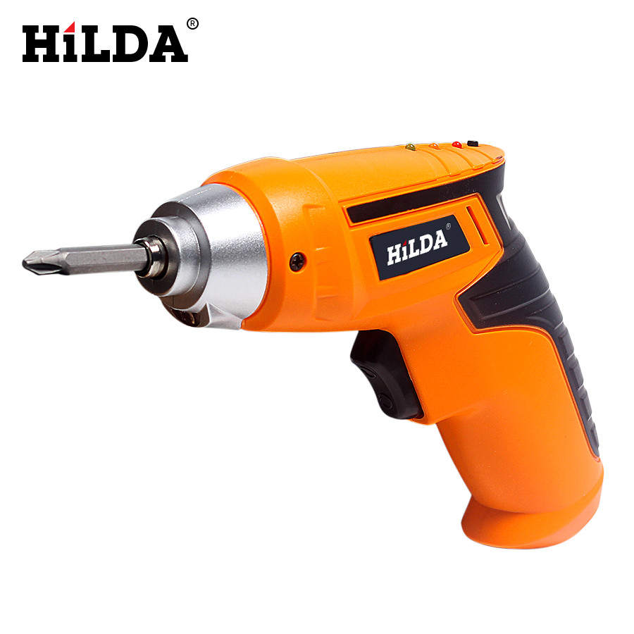 цена на HILDA 4.8V Lithium Battery Electric Screwdriver LED Light Rechargeable Cordless Household Multifunction Electric Drill Tools