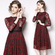 Womens new temperament ladies retro openwork lace stitching nine-point sleeve dress fashion elegant party