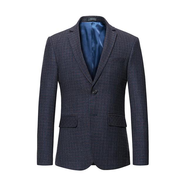 30997b49537 Black Grey Plaid Blazer for Men 5XL 6XL Fashion Male Slim Fit Suit Jacket  Single Breasted Fashion Business Casual Coat