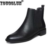 YOUGOLUN осень весна женщины сапоги из натуральной кожи модные дамы квадратные каблуки 3 cm шикарная женщина черный круглый обувь #Z-040