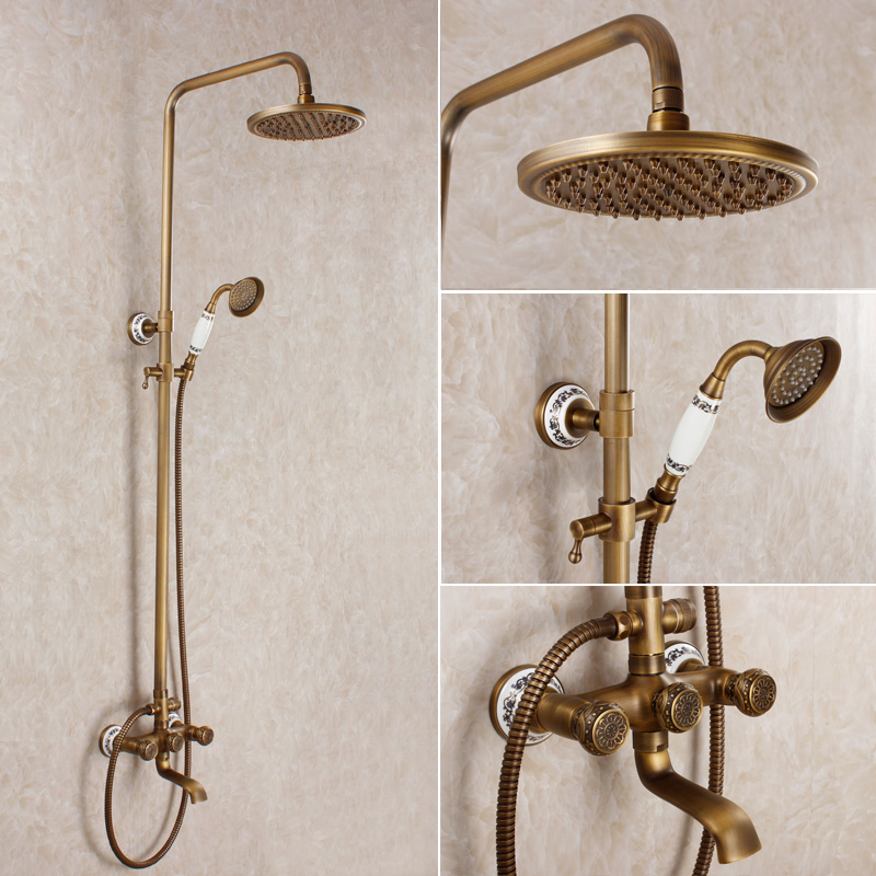 Vintage Style Antique Shower Bathroom Shower Set Bronze Shower Mixer Blue  And White Porcelain Shower Faucet In Shower Heads From Home Improvement On  ...