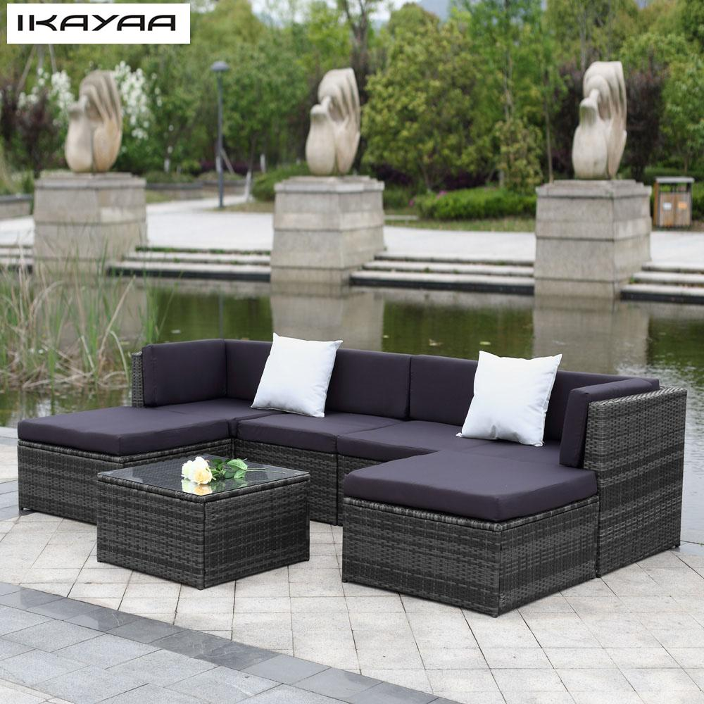 IKAYAA Cushioned Outdoor Patio Garden