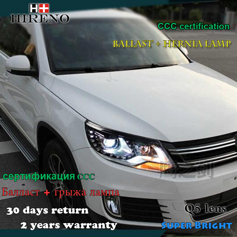 Hireno Headlamp for 2013-2015 Volkswagen Tiguan Headlight Assembly LED DRL Angel Lens Double Beam HID Xenon 2pcs hireno headlamp for cadillac xt5 2016 2018 headlight headlight assembly led drl angel lens double beam hid xenon 2pcs