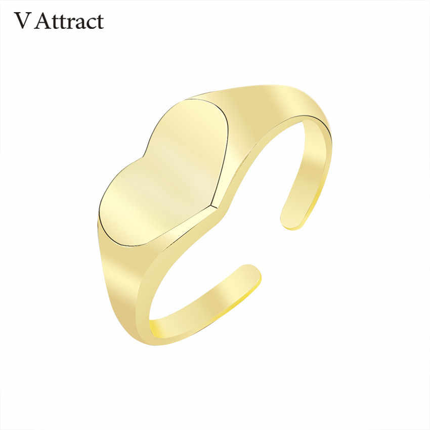 V Attract Adjustable Heart Ring for Women Indian Jewelry 2018 Gold Color Fahsion Simple Knuckle Bague Femme Anniversary Gift