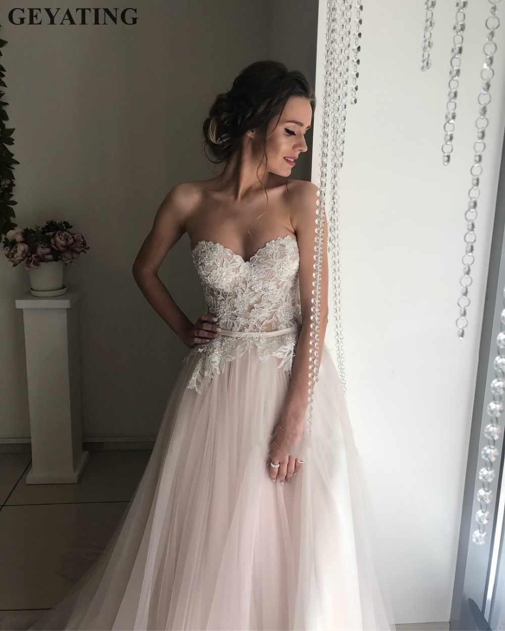 7fae4cf067da ... Blush Pink Tulle Wedding Dress 2019 Elegant Appliqued Lace Sweetheart  Sweep Train Cheap Wedding Gowns A ...