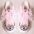 O envio gratuito de Sapatos de Lona menina Rendas Pérola bling bling princesa Esportes Coloridas rhinestone bling crystal fashion calçados infantis