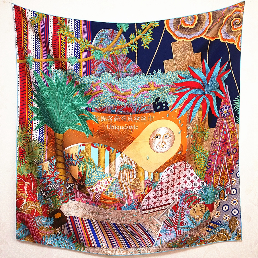 Fabulous Print Large Square 100% Silk Scarf Shawl Hijab For Women's Fashion Head Scarves 35*35 Inches