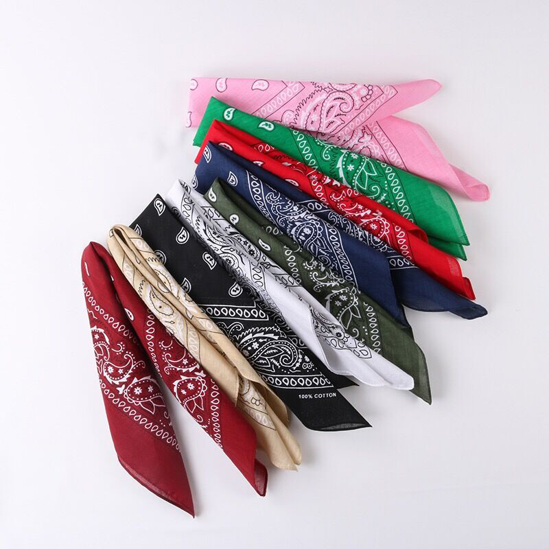 Luna&Dolphin Cotton Square Scarves 54x54cm Unisex Blend Hip-hop Classic Bandanas Men Women Vintage Paisley Head Scarf Wristband