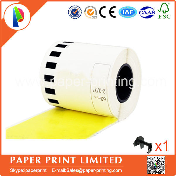 2 Refill Rolls Compatible DK-22606 Label Yellow Film Coated 62mm*15.24M Continuous Compatible for Brother Label Printer DK-2606