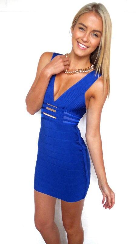 De Sexy Color Azul Vestido Moda Sin Mujeres Nuevo Vendaje Partido Mangas 2013 Hl t8q5wUxn