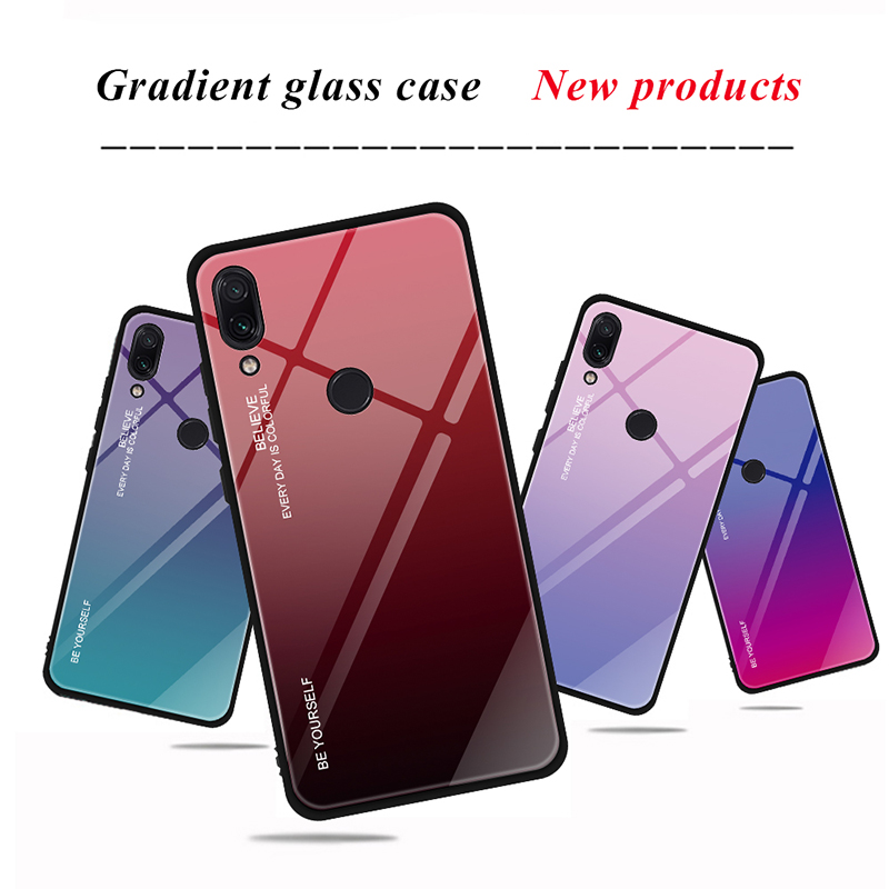 HTB1A5VEXhD1gK0jSZFsq6zldVXae - Tempered Glass Case for Xiaomi Redmi Note 7 6 K20 Pro Glossy Stained Gradient Colorful Case for Redmi 7 6A 6 Pro 5 Plus
