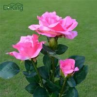 Solar Rose Flower LED Lights Outdoor Garden Decorative Lights Landscape Lighting For Yard Path Way Landscape Night Lamp