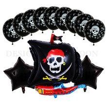 13 pçs/lote novo barco pirata dos desenhos animados de alumínio balão festa festival decorativo 18 polegada crânio balão 3.2g látex chuveiro do bebê