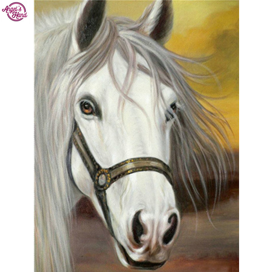 Full Mosaic Pasted Diamond Painting animals DIY diamond Embroidery white horse Pattern 3D Cross Stitch Kits Crafts Wall Sticker
