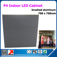 TEEHO Super Thin and Light Indoor P4 LED Display Cabinet Golden Brushed Aluminum Rental Display Cabinet 768*768mm