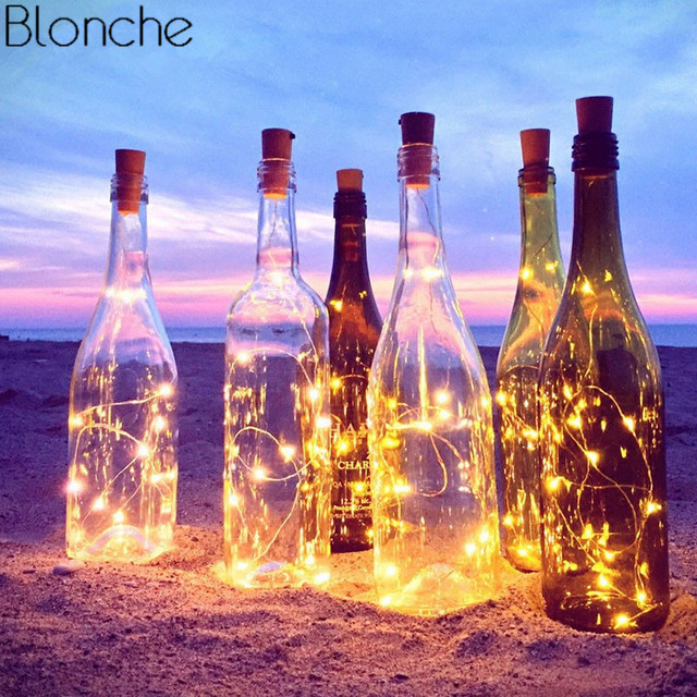 10Pcs/lot 1M 2M LED Garland Copper Wire Corker String Fairy Lights for Glass Craft Bottle for Christmas Party Wedding Decoration