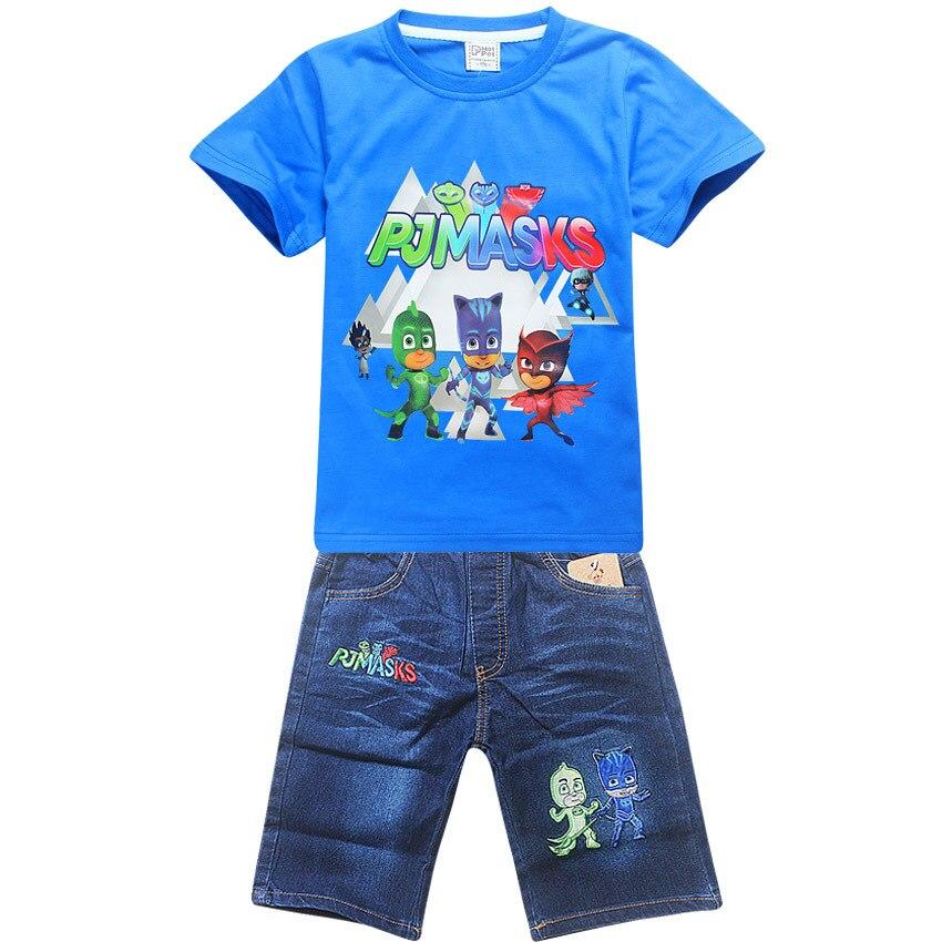 summer cotton girlchildren's clothing children baby boy shirt short-sleeved  jeans T-shirt set cartoon pattern