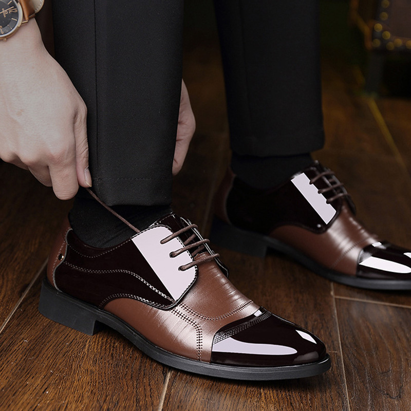 NPEZKGC Fashion lederen mannen Oxford schoenen, Lace Up Casual - Herenschoenen - Foto 5