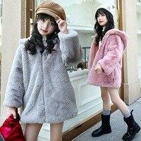 2018 Winter Girls Faux Fur Fleece Coat Warm Toddler Jacket Snowsuit Outerwear Children kids Hooded Clothes Parkas P32