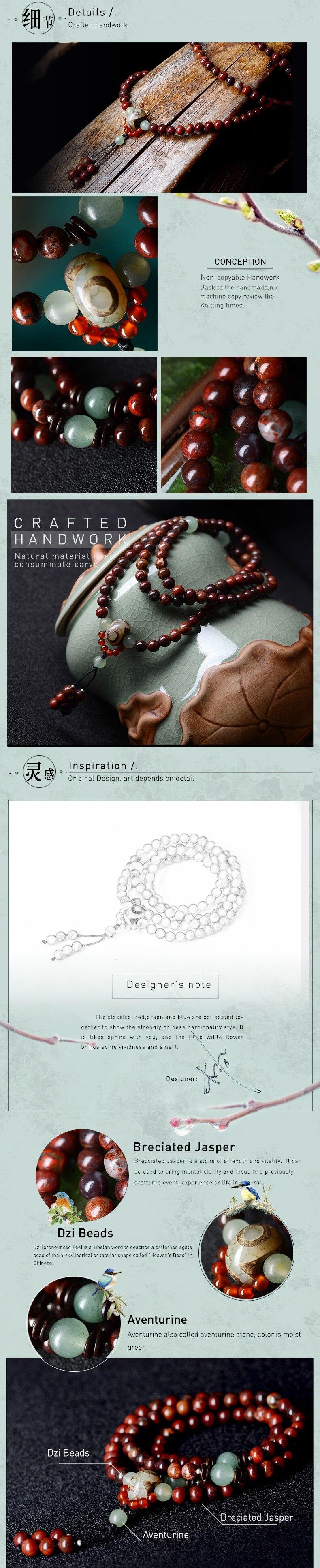 Beaded Bracelet vintage Dzi Beads pendant Bohhda Necklace natural stone handmade jewelry wrap charm Bracelets for women 19 4