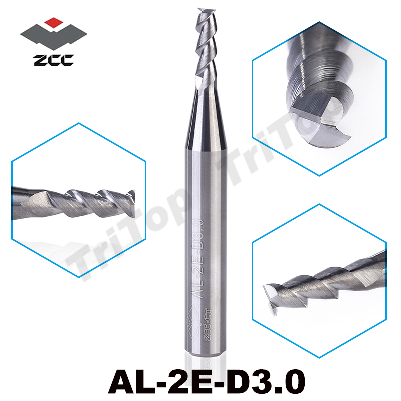5pcs/lot AL-2E-D3.0 ZCC.CT solid Carbide 3mm 2 flute flattened End mills straight shank milling cutter for aluminium machining 5pcs up210 b4 10018 nicecutt top quality end mills carbide milling cutter