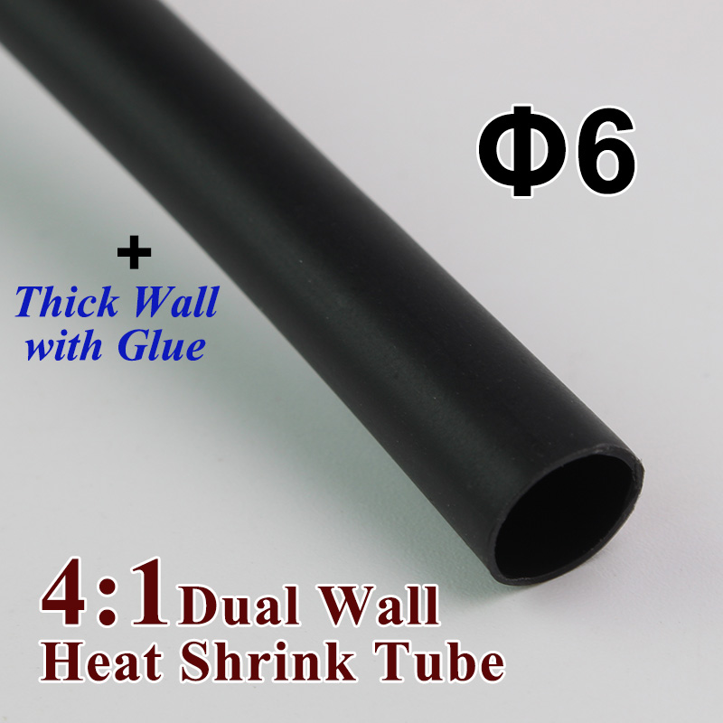 1meter/lot 6mm 4:1 Heat Shrink Tube With Glue Adhesive Lined Dual Wall Tubing Tubing  Insulation Sleeving Wrap Wire Cable Kit