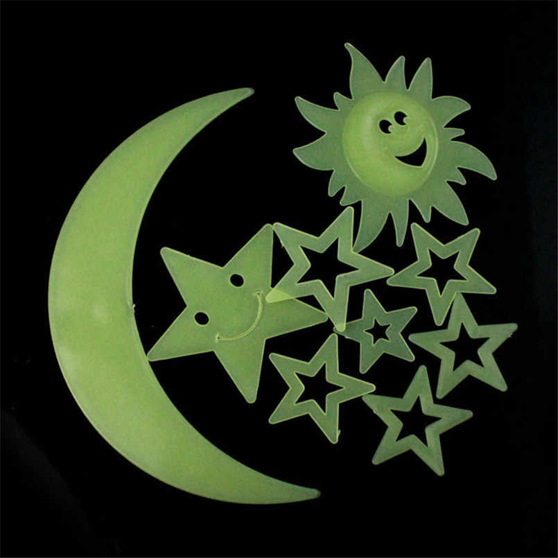 9 PZ Stelle Luna Sole Glow In The Dark Luminosa Fluorescente Casa Wall Stickers Camera Da Letto 3D FAI DA TE Decor In Vinile per la casa decorazione