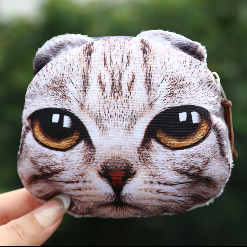 Fashion Women Coin Purses Cute Girl Animal Mini Bag Key Ring Case Zipper Wallet Lovely  Cat Face Pouch Change Purse wholesale asds cute lovely 3d dog face zipper case coin girl purse wallet makeup bag pouch huskies