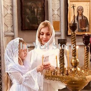 Image 4 - حجاب كاثوليكي للبنات الصغار أبيض من Mantilla مناسب للكنيسة للأطفال الصغار وحجاب من الدانتيل من قماش الأنوفيا