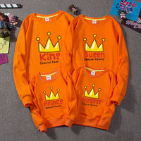 Spring 2018 New Full family Clothing Printing Crown Mom and Daughter Matching Clothes Father Son Long Sleeve Matching Sweatshirt