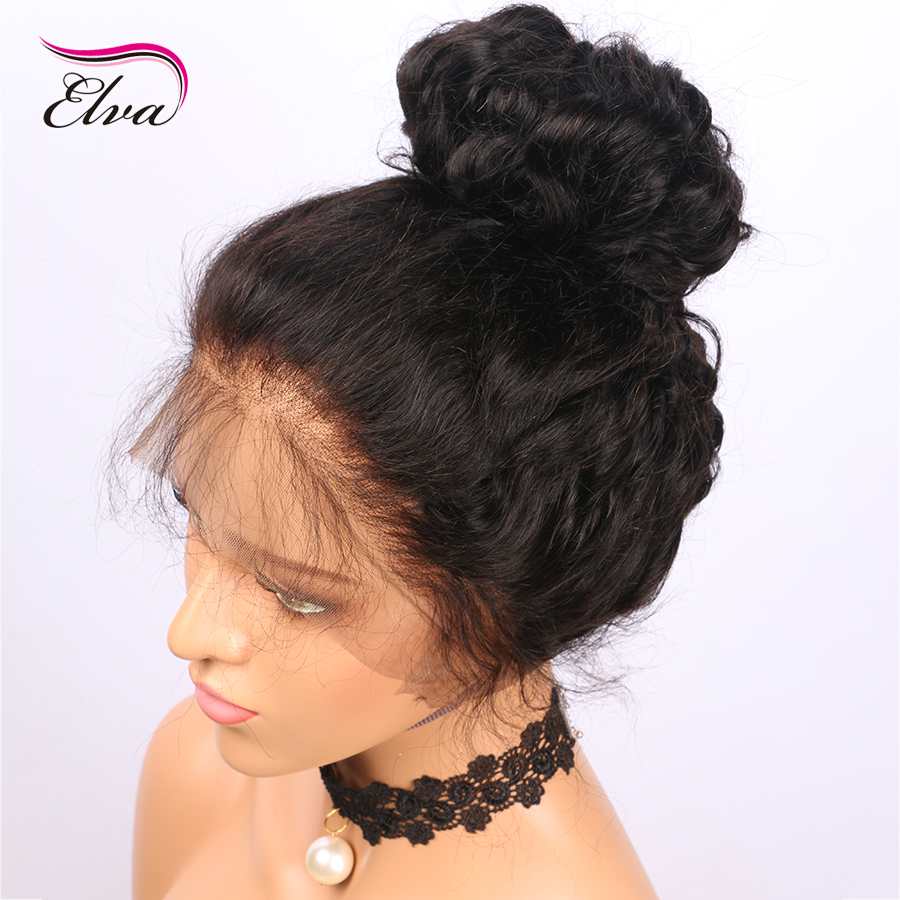 Brazilian Remy Human Hair Wigs 360 Lace Front Pre Plucked With Baby Hair Body Wave 180% Density Elva Hair