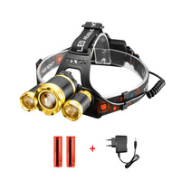 XML T6+2Q5 LED Headlamp Headlight Head lamp light Zoomable LED Flashlight Torch Lantern Fishing Camping+18650 Battery EU Charger