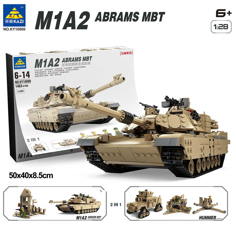 Model Building kits Blocks compatible with  Military M1A2 Tank Collection Trans Toys 1:28 ABRAMS MBT HUMMER 1463 pcs