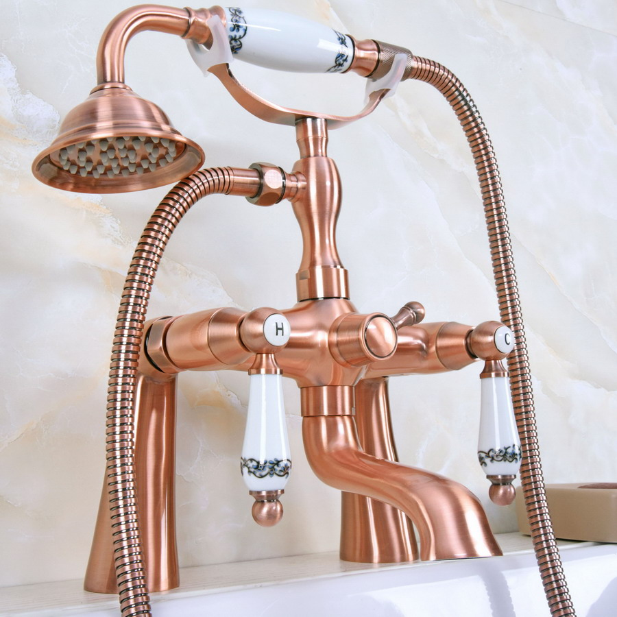 "Antique Red Copper Brass Double Ceramic Handles Deck Mounted Bathroom Clawfoot Bathtub Tub Faucet Mixer Tap w/Hand Shower ana176 langria mermaid tail blanket with glossy foil ""scales"" soft warm flannel mermaid blankets for adults easy care all seasons 60 x 25 green"