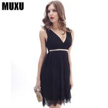 MUXU noir dentelle robe dos nu patchwork robes jurken femmes vêtements  kleider mini robe mode sukienka b8ae437eb5f